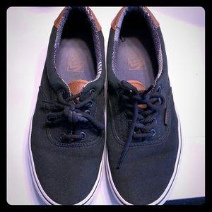 Men's Vans black canvas and brown leather